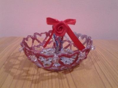 Hot Glue Art Mini Basket with Love
