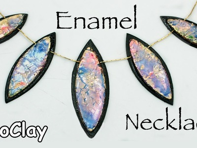 Polymer clay necklace - Embossing Powder Enamel