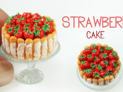 Polymer clay Strawberry Cake TUTORIAL | polymer clay food