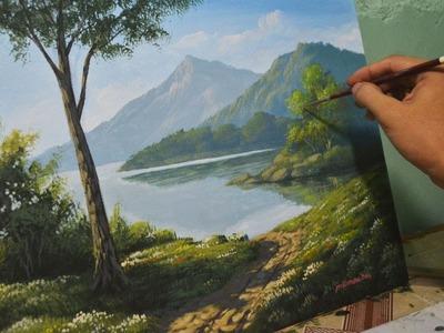 Acrylic Landscape Painting Lesson - Morning in Lake by JmLisondra