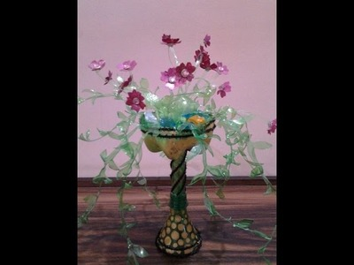 Best Out Of Waste Plastic Stylish Flower Holder with Flowers
