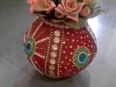Clay pot decorated by using kundan how to decorate pot with kundan