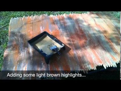 DIY Faux wood grain from foam board & dry wall mud