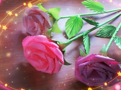 DIY #Handmade Cute Flowers. How to Assemble a Paper Rose With a Stem, #Leaves, a Calyx