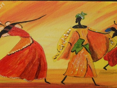 Easy Dancing African Girls, Acrylic painting for beginners,#clive5art