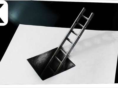 How to draw 3D- optical illusion- hole with ladder - Iluzja optyczna 3D, timelapse