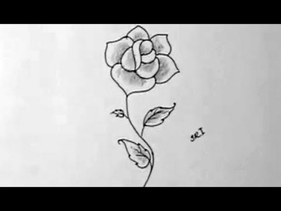 How to draw a beautiful rose flower in Simple way with shading