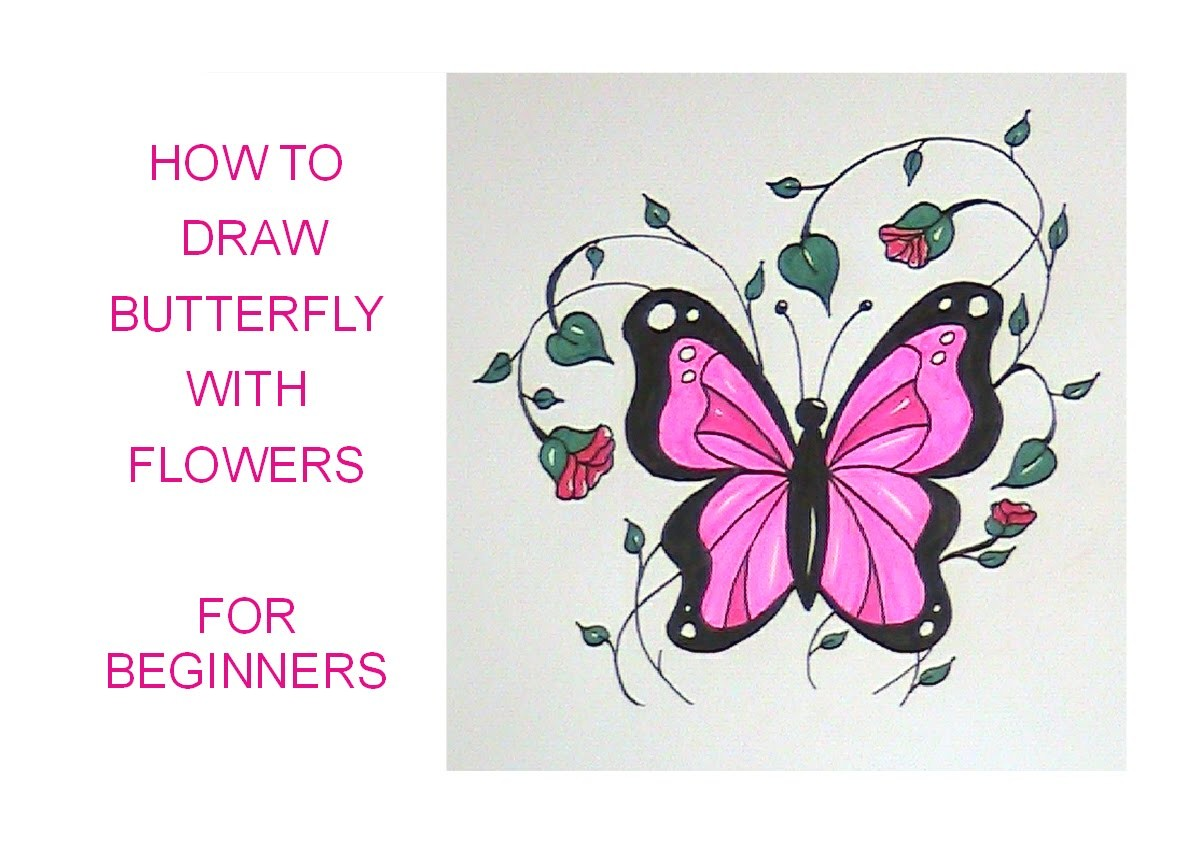 How to draw a butterfly (with flowers) - easy version for beginners