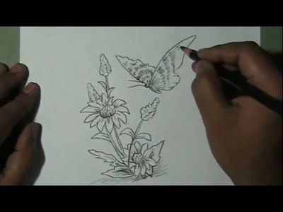How to draw beautiful flower and butterfly