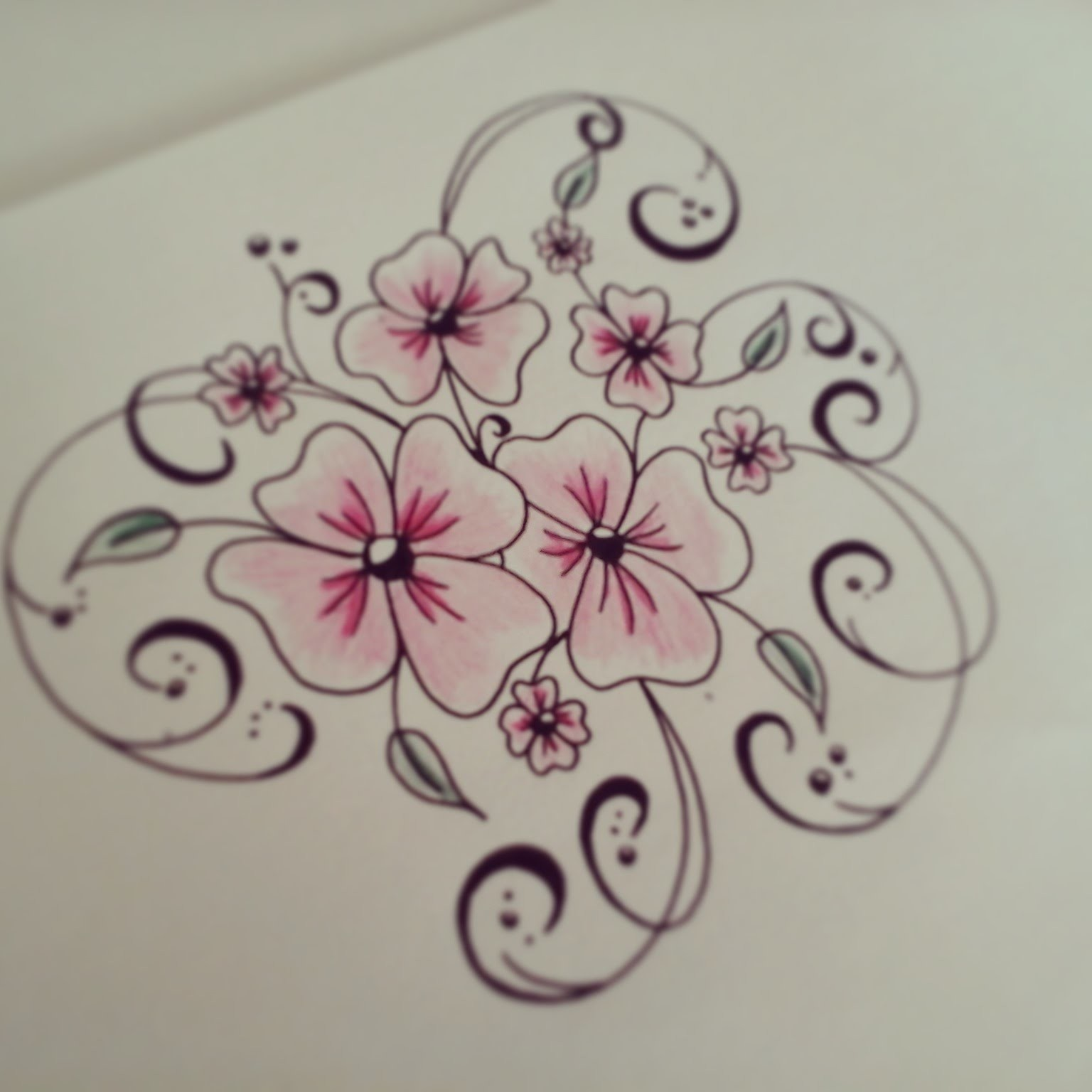 How to draw flowers for beginners - easy version tattoo flowers