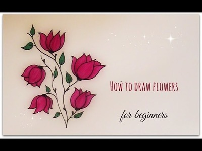 How to draw flowers - magnolia flowers for beginners (version 2)