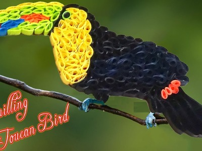 Paper Quilling | How to make a beautiful Toucan bird with quilling strips made easy