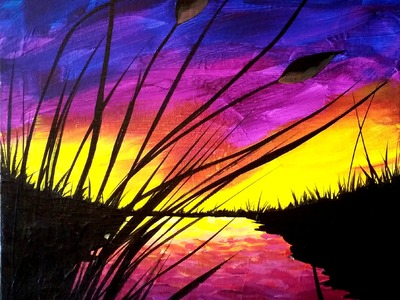 Sunset and Cattails Step by Step Painting on Canvas for Beginners