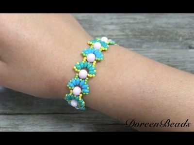 Doreenbeads Jewelry Making Tutorial - How to DIY Beautiful Flower Bracelet Using Seed Beads