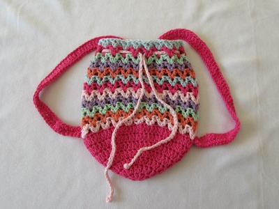 How to crochet a fun V-stitch bag. backpack. rucksack. purse