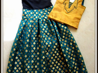 LEHENGA - DESIGNING, CUTTING AND SEWING ( PLEATED LONG SKIRT) South Indian Traditional wear