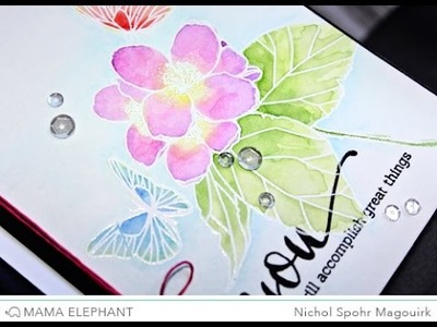 Mama Elephant | Butterfly Kisses Watercolored Card