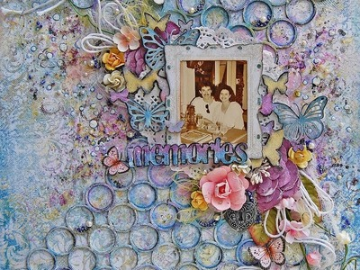 Memories-mixed media scrapbooking layout for Blue Fern Studios