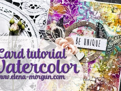 Watercolor card tutorial with Prima  Marketing Paintables