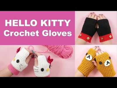 DIY Hello Kitty Crochet Gloves | Step by Step Tutorial | 2 Cats & 1 Doll