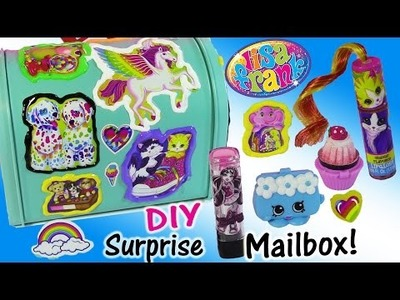 DIY Lisa Frank Surprise Mailbox! Decorate with Stickers & PUFFY Paint! Lip Gloss SHOPKINS!