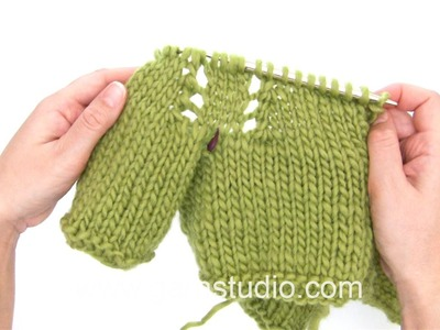 DROPS Knitting Tutorial: How to work raglan with lace pattern in a jacket