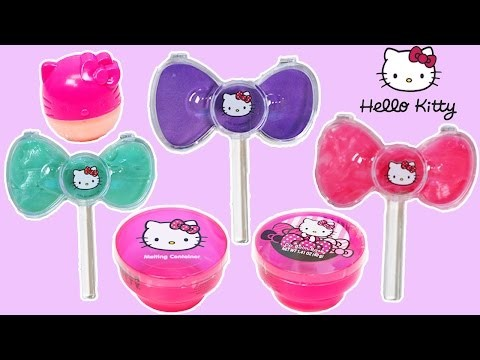 Hello Kitty DIY Flavored Lip Balm Play Kit Make Strawberry Blueberry Cotton Candy Lip Balm!
