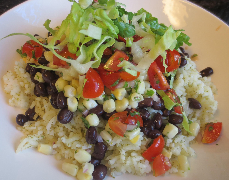 Low Fat Vegan No Oil DIY Chipotle Rice Bowl