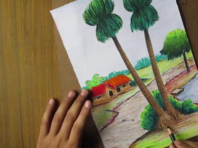 Pastel Tutorial   How to Draw a Village Landscape with Oil Pastels  [LONG VERSION]   Episode-14