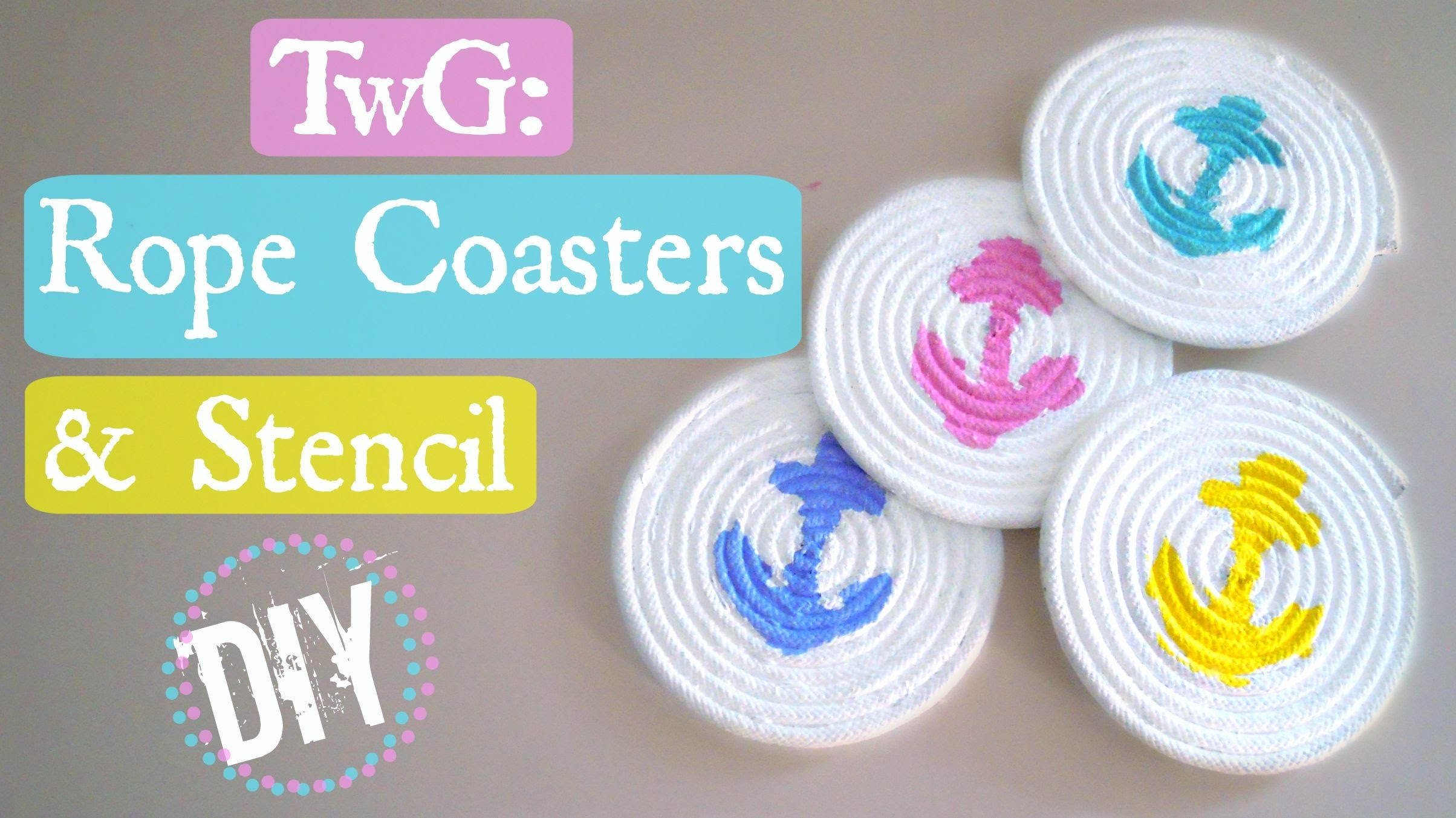 Traveling with a Glue Gun: DIY Rope Coasters with Stencil Design