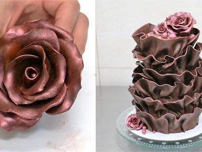 How To Make Modeling Chocolate - Chocolate Ruffle Cake