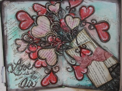 Love is in the Air Art Journal Page Process