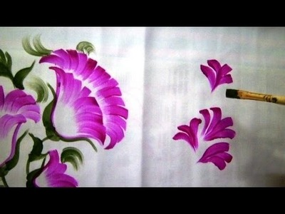 One Stroke Fabric Painting - How to paint Bed-sheet.