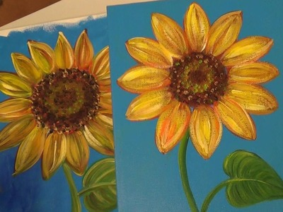Sunflower Painting Tutorial | Free Easy Acrylic Painting Lesson for Beginners | How to Paint Flowers