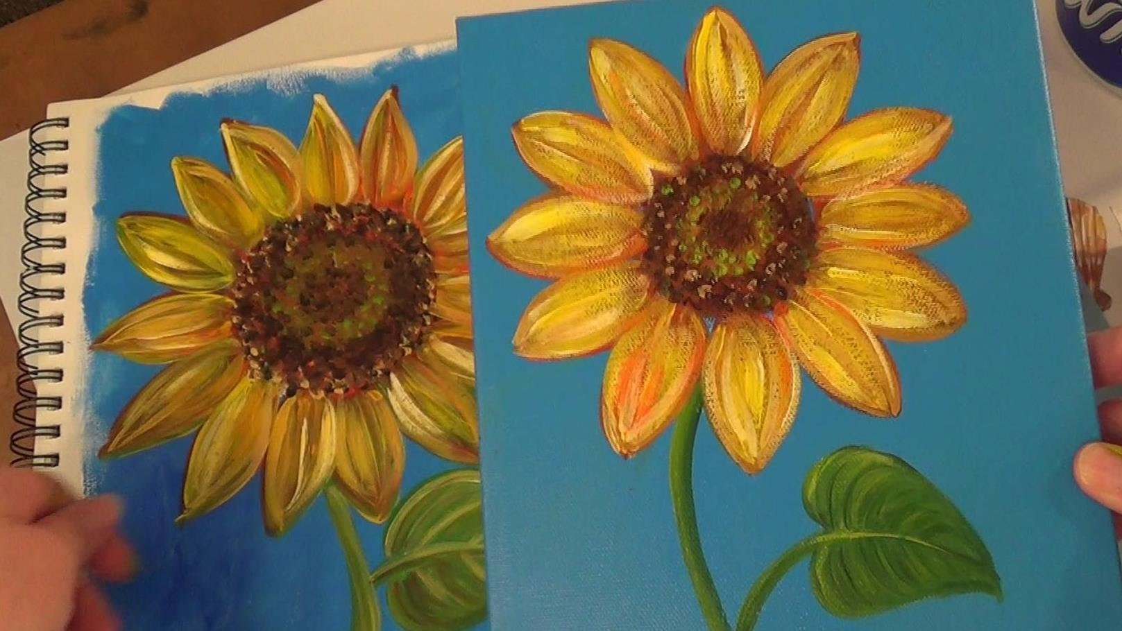 Sunflower painting tutorial free easy acrylic painting for Simple flower paintings for beginners