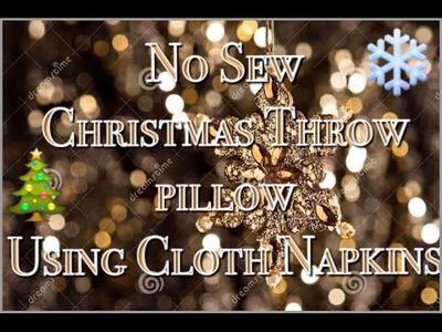 How to make a No Sew Christmas Throw Pillow with cloth napkins