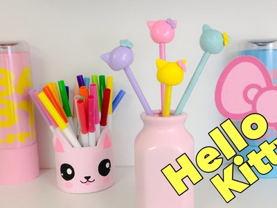 KAWAII crafts:How to make Hello Kitty pencils(easy crafts)