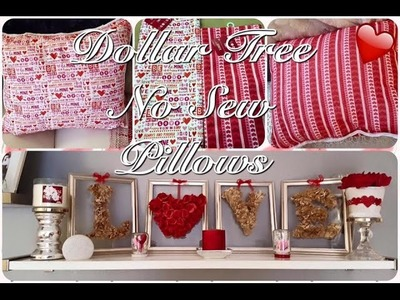 No Sew Valentine Throw Pillow from Dollar Tree $1.00