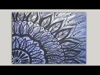 Painted Mandala Doodle Acrylic Painting on Canvas Part 1 of 2