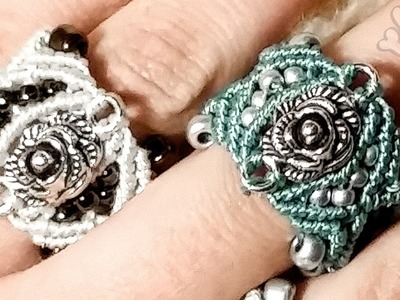 Cosy rose micro macrame ring with beads and weaving