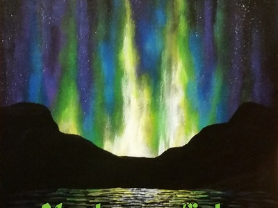 How to Paint Northern Lights - Step by Step Acrylic Painting on Canvas for Beginners
