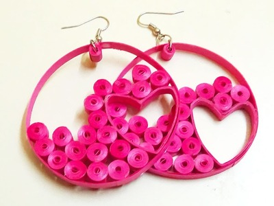 Paper Quilling;How to make a beautiful Pink Hearts Hoops Earrings, Paper Quilling Jewelry