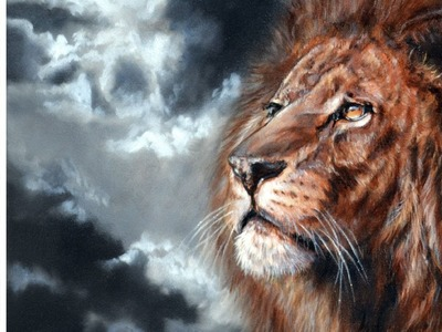 Speed painting - How to paint a Lion - Time Lapse tutorial oil and acrylic by Lachri