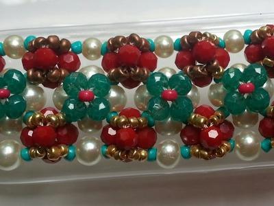 Captivating Swarovski Crystal Beaded Flower Cluster Bracelet