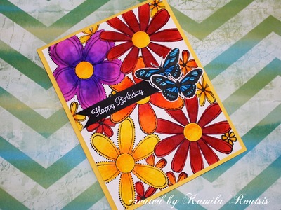 Floral birthday card using Stabilo 68 pens