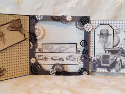 Masculine card and  secret gift card holder - Tutorial on the card base