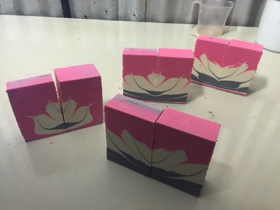 The Lotus Flower cold process soap goodness.