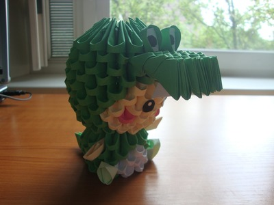 3D origami crocodile kid