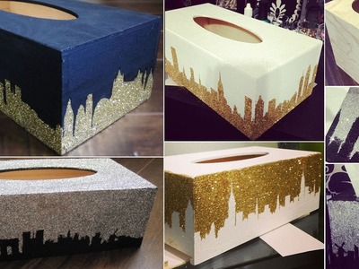 DIY Glitter Design Tissue Box