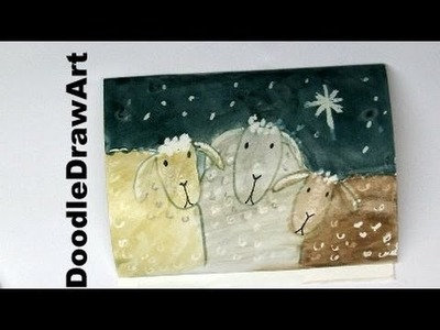 Draw and Paint a Sheep Christmas Painting or Card - Beautiful!